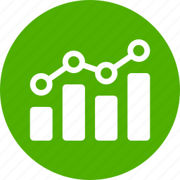analytics, chart, circle, earnings, finance, green, stock market icon