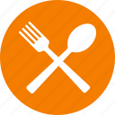 circle, dining, eat, eating, food, orange, restaurant icon