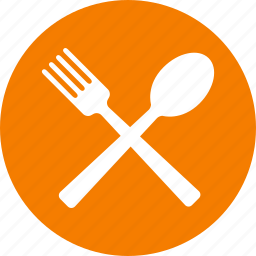 circle, dining, eat, eating, food, orange, restaurant icon