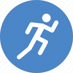 blue, circle, exercise, fitness, run, running, workout icon