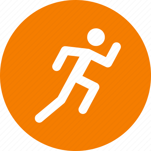 Circle, exercise, fitness, orange, run, running, workout icon - Download on Iconfinder