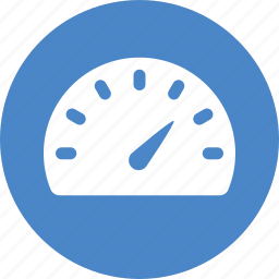blue, circle, dashboard, gauge, meter, speed, speedometer icon