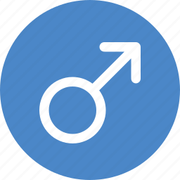 blue, circle, gender, male, man, sex, sign icon