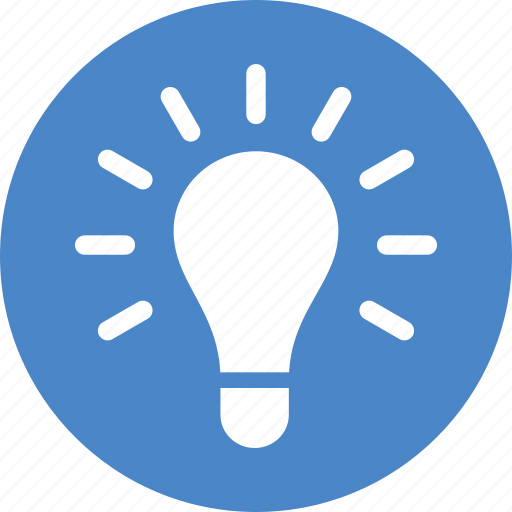 blue, circle, creativity, entrepreneur, idea, light bulb, lightbulb icon