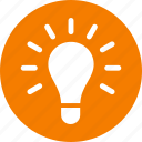 circle, creativity, entrepreneur, idea, light bulb, lightbulb, orange icon