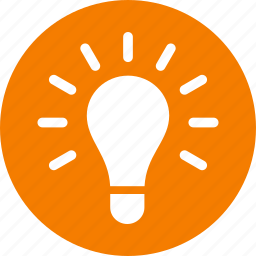circle, creativity, entrepreneur, idea, light bulb, lightbulb, orange icon