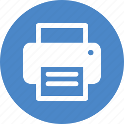 blue, circle, copier, office, print, printer, printing icon