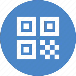 barcode, blue, circle, code, qr, qrcode, quick response icon