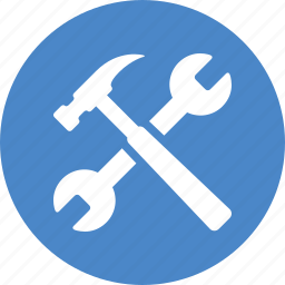 blue, build, circle, project, repair, settings, tools icon