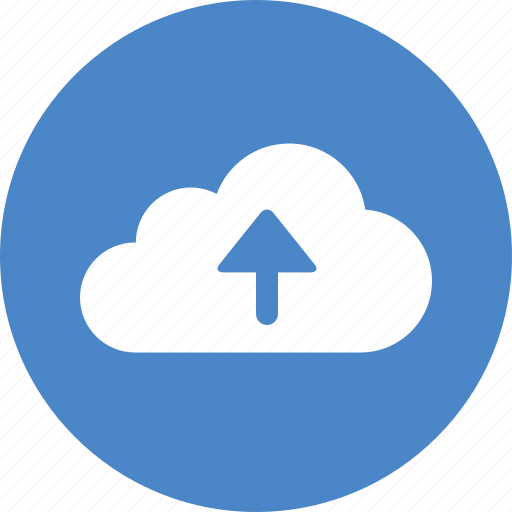 Backup, blue, circle, cloud, ftp, storage, upload icon - Download on Iconfinder