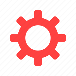 cog, customize, gear, preferences, red icon