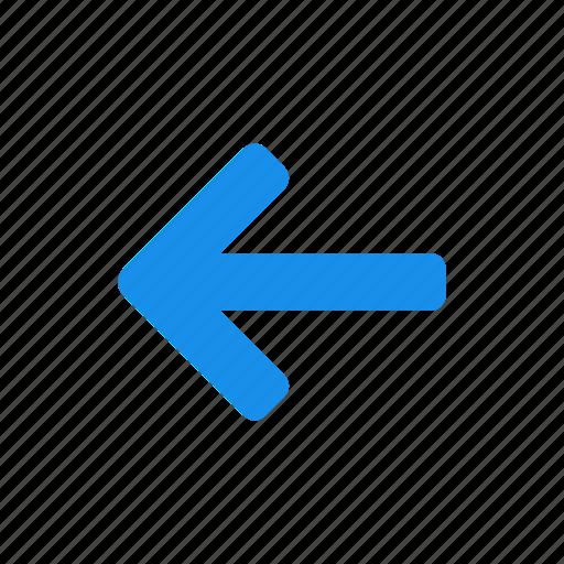 arrow, back, blue, left, previous, west icon