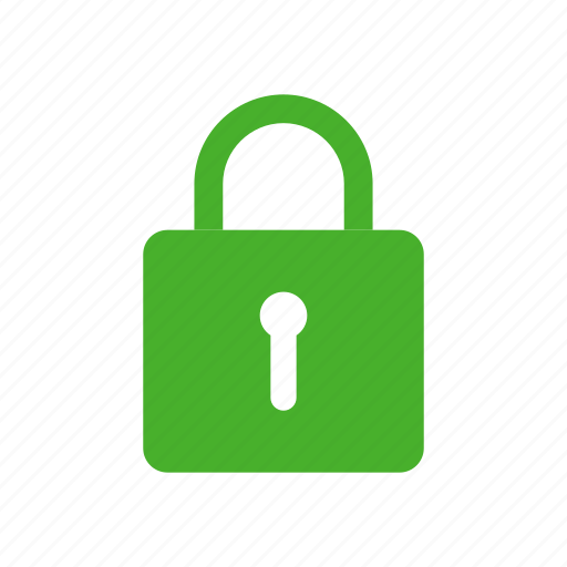 green, lock, privacy, safe, secure, security icon