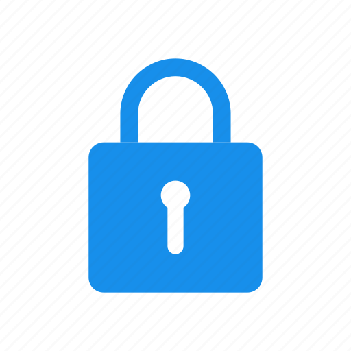 blue, lock, privacy, safe, secure, security icon