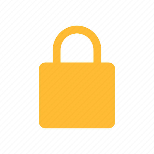 lock, privacy, safe, secure, security, yellow icon
