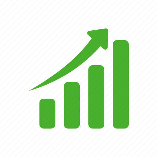 chart, graph, green, revenue growth icon