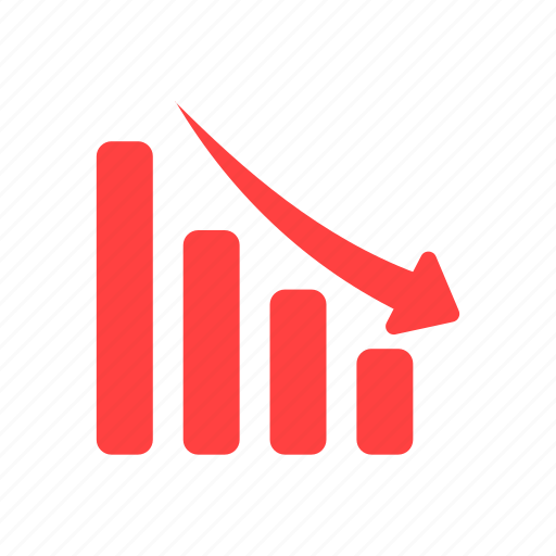 Not For Sale >> Analytics, decline, down, financial graph, red icon