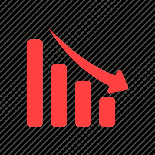 analytics, decline, down, financial graph, red icon