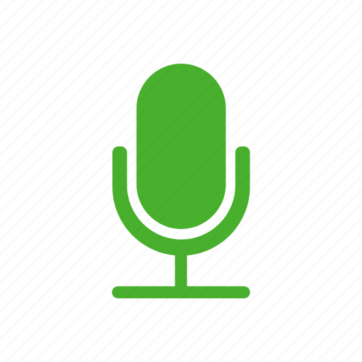 green, mic, microphone, recording, speaker icon