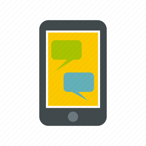 bubble, message, mobile, phone, screen, speech, technology icon