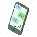 chat, isometric, message, object, phone, speech, text