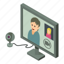 chat, conference, internet, isometric, object, video, web