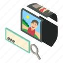 camera, frame, isometric, magnifying, object, photo, search