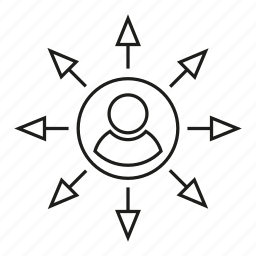 arrow, center, distribution, people icon