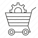cog, gear, shopping, shopping cart icon