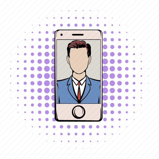 comics, communication, mobile, online, phone, technology, using icon