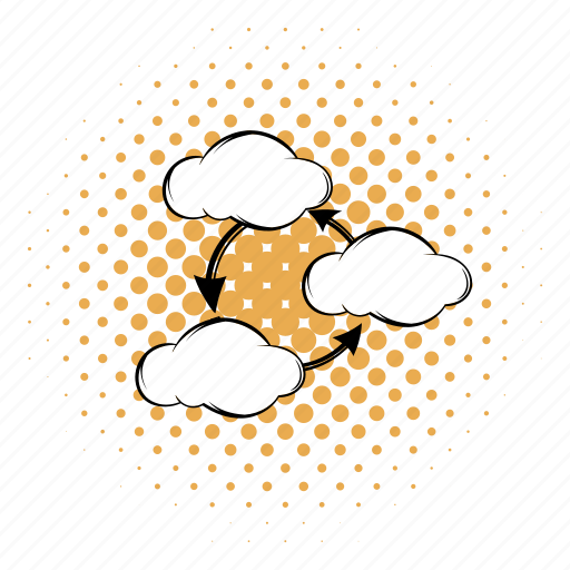 cloud, comics, communication, computing, connection, modern, network icon