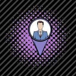 comics, gps, human, label, location, map, pin icon