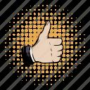 comics, hand, human, ok, positivity, success, thumb