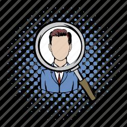comics, employment, glass, human, job, magnifying, selection icon