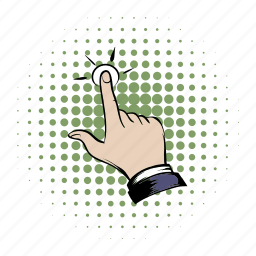 click, comics, cursor, finger, hand, press, tap icon
