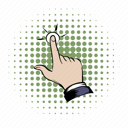 click, comics, cursor, finger, hand, press, tap icon