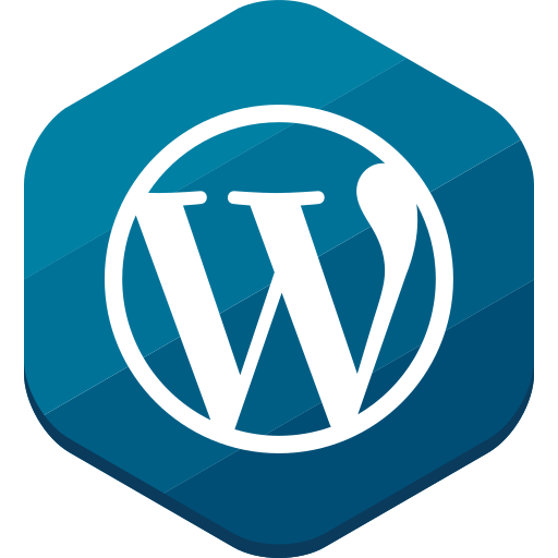 blog, blue, cms, hexagonal, wordpress icon