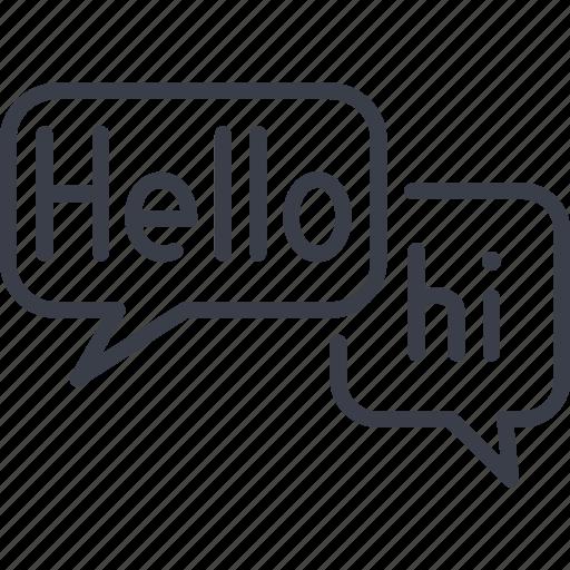chat hello hi message social social network speech icon