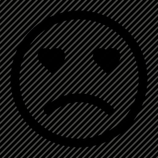 emoji, emotions, love, sad, smiley icon icon
