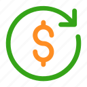 arrow, circle, dollar, dollar change, exchange, money, money exchange icon