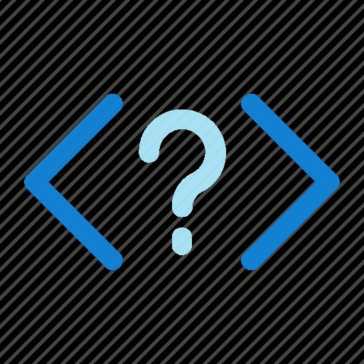 code, code icon, coding, html, question icon