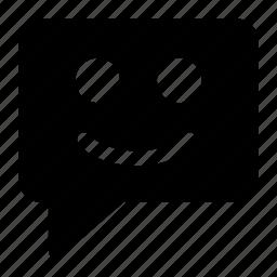 bubble, chat, emoji, message, smiley icon icon