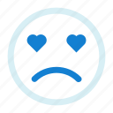 emoji, emotions, love, sad, smiley icon icon