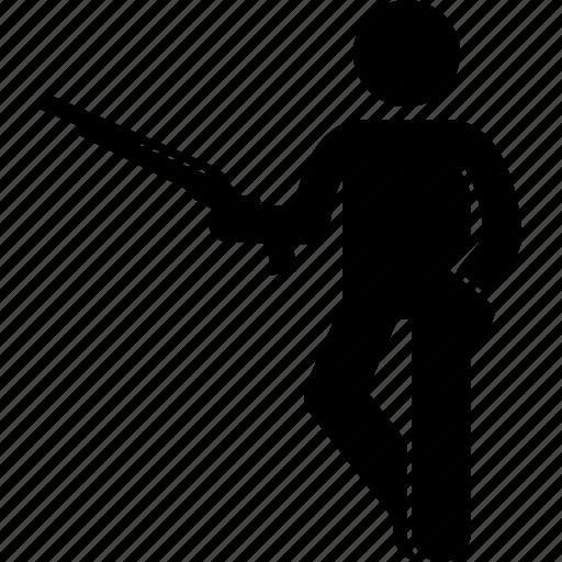 carrying, gun, holding, man, shotgun icon