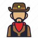 avatar, beard, cowboy, marshall, profession, sheriff, society icon