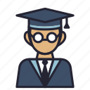 avatar, bachelor, college, degree, profession, society, student icon