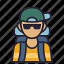 avatar, camp, hike, holiday, profession, society, vacation icon