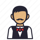 avatar, bartender, exclusive, moustache, profession, society, tuxedo icon