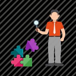 development, online, problem, search, solution, solve, technology icon