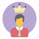 best businessman, boss, business king, entrepreneur, king icon